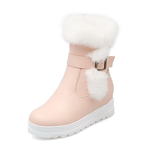 Allhqfashion Women's Low-top Solid Chains Round Closed Toe Kitten-Heels Boots Pink