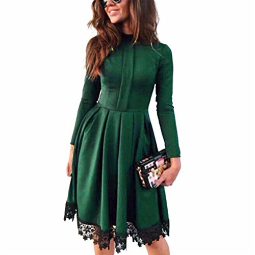 Anna&Judy Women's Vintage Long Sleeve Turtleneck Green Flare Cocktail Swing Dress(Green,M) - Frill Sleeve Dress
