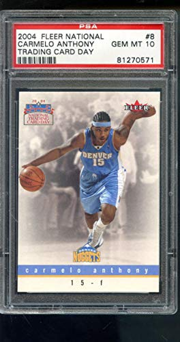 2003-04 2004 Fleer National Trading Card Day #8 Carmelo Anthony ROOKIE PSA 10