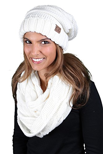 bHS-6100-25 Oversized Beanie Scarf Bundle - Ivory (Solid) (White Scarf Wool)