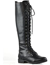 Womens Knee High Biker Boots Lace Up Zip Adjustable Calf Casual