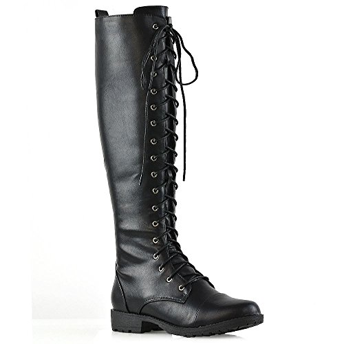 ESSEX GLAM Womens Knee High Boots Lace Up Zip Black Synthetic Leather Calf Combat Army Boots 8 B(M) (Black Leather Lace Up Boots)