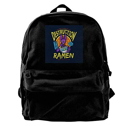 MIJUGGH Canvas Backpack 7th Universes God of Destruction Beerus Dragon Ball Z Rucksack Gym Hiking Laptop Shoulder Bag Daypack for Men Women