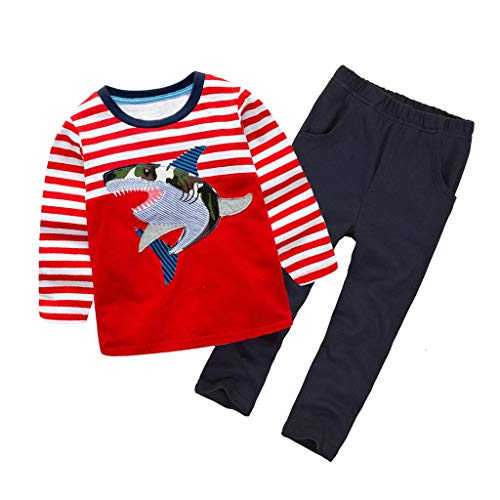 Coralup Toddler Long Sleeve Cotton 2PCS Clothing Sets(Red Shark,4-5Y)