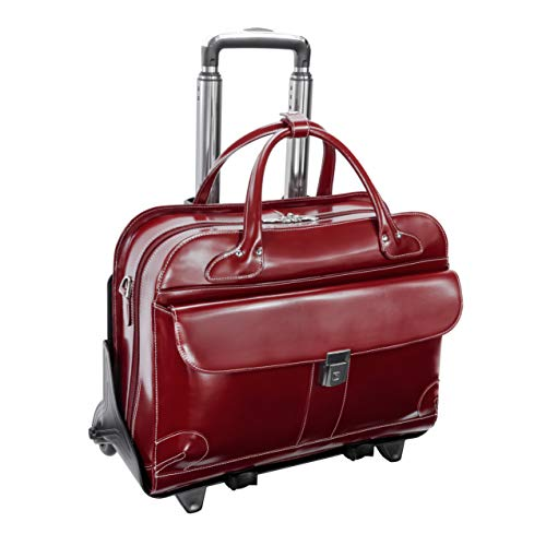 Checkpoint-Friendly Women's Laptop Briefcase, Leather, Mid-Size, Red - Lakewood | McKlein - 96616