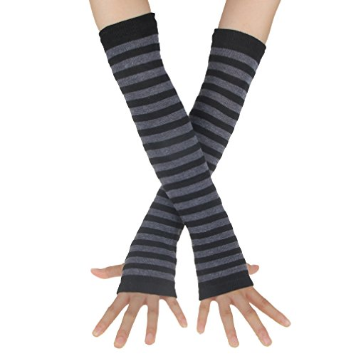 Accessory Punk Gothic Horizontal stripes Hand Arm Warmer Finger Gloves (Black/Gray)