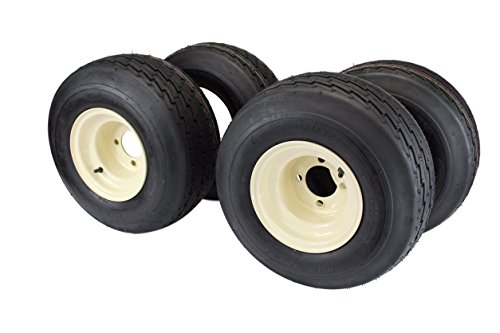 18x8.50-8 with 8x7 Tan Wheel Assembly for Golf Cart and Lawn Mower (Set of 4) (Best Golf Cart Tires)