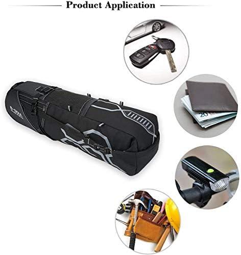 自転車後部座席バッグ、ポリエステル防水大容量自転車サドルバッグ(反射パターン付き)