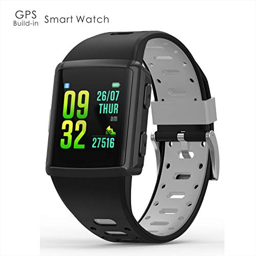 odfit GPS Fitness Tracker Sport Smart Watch Waterproof IP68 with All-Day Static Dynamic Heart Rate and Blood Pressure Monitoring Sleep Tracker,1.3 inches IPS Touch Screen 5-7day Standby (Black)