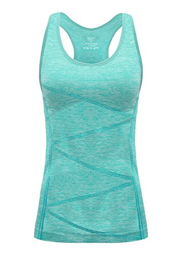 DISBEST Sports Tank Top, Women's Performance Stretch Quick Dry Yoga Workout Runing Racerback Tank with Removeable Pads,Fruit Green,L/US 8