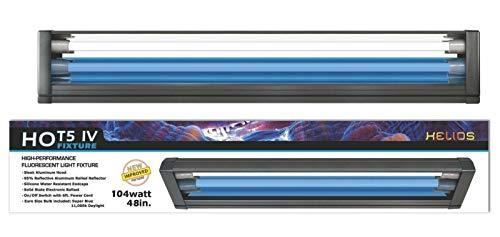 (Helios HO T5 Dual Aquarium Light Fixture & 2X HO T5 Lamps 11000K Day & Blue Marine Fish (48