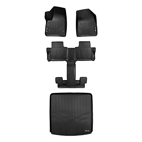 (MAX LINER A0230/B0230/D0230 Floor Mats 3 Cargo Liner Behind Set Black for 2017-2019 GMC Acadia with 2nd Row Bucket Seats)