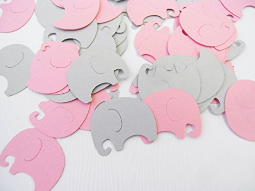 Baby Elephants Table Confetti | 200 pcs | Pink and Gray Baby Shower Decoration (Pink Gray Elephant Baby Shower)