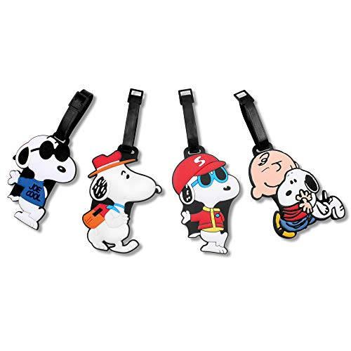 Finex Set of 4 White Snoopy Charlie Brown Travel Luggage Baggage Identification Labels ID Tag for Bag Suitcase Plane Cruise Ships with Adjustable Strap (Card Suit Jewelry)