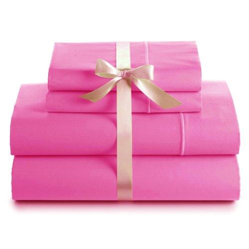 600 Thread Count 100% Cotton Deep Pocket Sheet Set, Queen, Hot Pink
