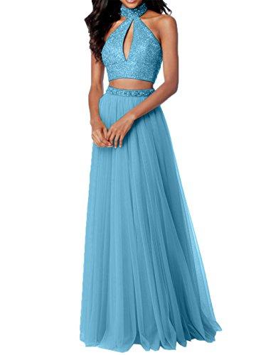 Steine Abendkleider mit Blau Charmant Rosa Promkleider Tuell Damen Abiballkleider Zwei Teilig Abschlussballkleider wHOSCxqRv