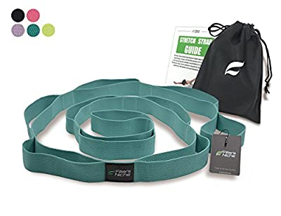 Fitters Niche Yoga Strap for Stretching,100% Cotton No Stretch, 10 Loops Adjustable, Free Carry Bag & Workout Guide