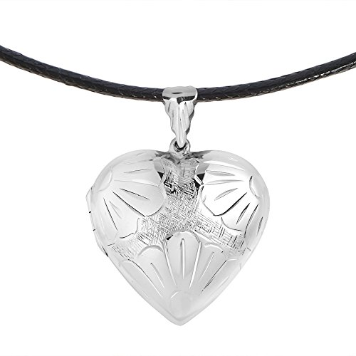 AeraVida Flower Embossed Heart Locket .925 Sterling Silver Black Cotton Snake Cord Rope Necklace