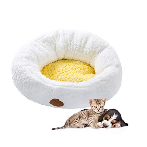 (Sigetree Spring Round Plush Pet Bed Small Dog Cuddle Cup Puppy Sleep Cushion Cozy Mat with Egg Yolk Soft Pad for Cat/Chihuahua/Schnauzer/Rabbit/Little Pig,22 Inches X 22 Inches)