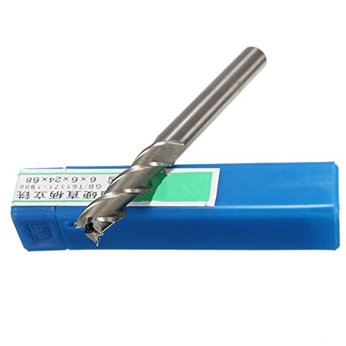 FUT HSS 3 Flute End Milling Lathe Cutter CNC Bit Tool 6mm Cutting Edge Diameter by FUT (Image #2)