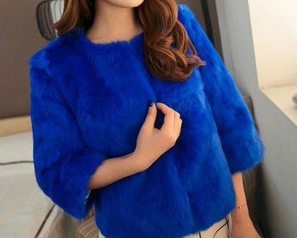Fourrure Bleu Lapin De Manteau Reel Femmes Royal Court Rex Helan wq07va8
