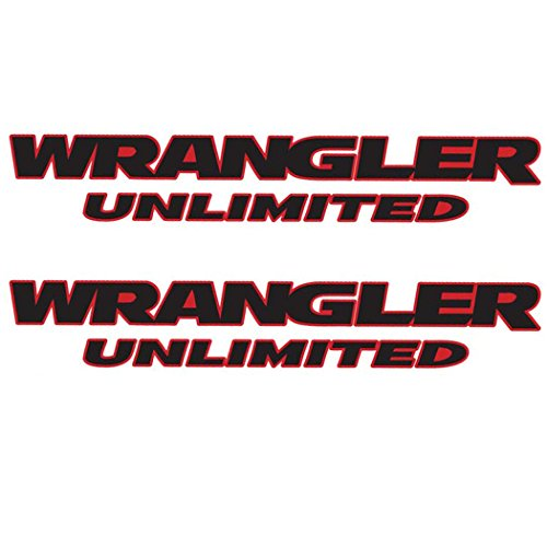 Jeep Wrangler Fender decal pair Unlimited Black decal with red outline die cut vinyl decal