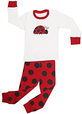 "Elowel Girls ""Ladybug"" 2 Piece Kids Pajamas Set 100% Cotton (6M-8 Years)"