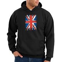 Union Jack UK British Flag Adult Hooded Pullover Sweatshirt Hoody Hoodie - Black, Medium
