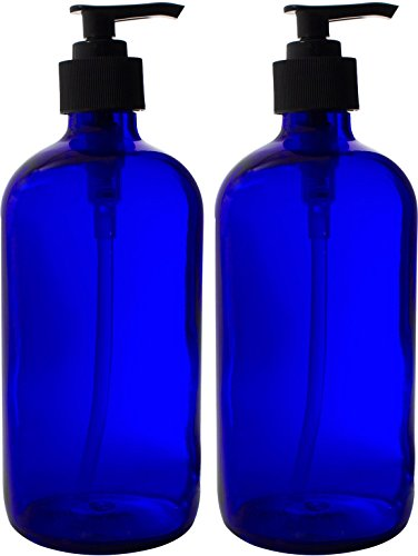 16-Ounce Blue Glass Bottles w/Black Soap Pumps - Large 16oz Size is Refillable and Great in the Kitchen or Bathroom for Essential Oils, Lotions, and Liquid Soaps (2 Pack) by Sally's Organics