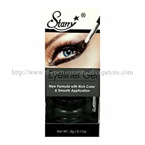 Starry Long Lasting Waterproof Eyeliner Gel with Brush Black Asphalt, 3g/0.11oz