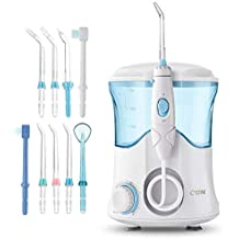 Cozzine Water Dental Flosser 600ml, Large Water Capacity Leak-Proof Electric Quiet Design with 9 Multifunctional Tips Countertop Dental Oral Irrigator for Home & Travel