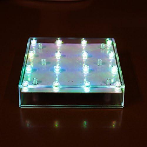 電光ホーム 光る台座 スクエア型 12.4×12.4cm (RGBレインボー)