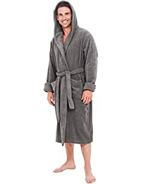 Mens Turkish Terry Cloth Robe, Thick Hooded Bathrobe