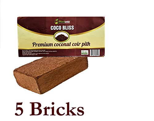 Plantonix Coco Coir Brick, OMRI Listed for Organic Use (5 Bricks) by Plantonix