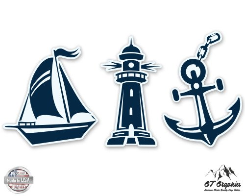 Nautical Set Sailboat Anchor Lighthouse - 3