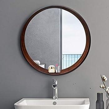 Amazon Com Lqy Bathroom Mirror Solid Wood Round Vanity