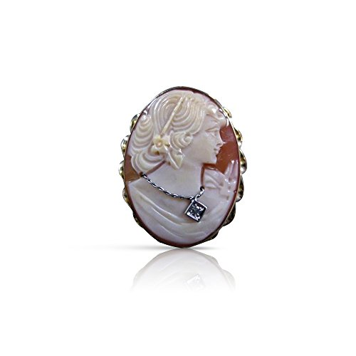 Yellow Gold Cameo Pin - Milano Jewelers ANTIQUE DIAMOND HABILLE LADY CAMEO 14KT YELLOW GOLD PIN PENDANT #21229