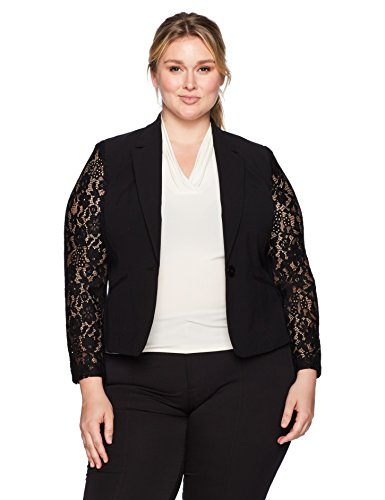Nine West Women's Plus Size 1 Button Shawl Collar Jacket with Lace Sleeves, Black 16W ()