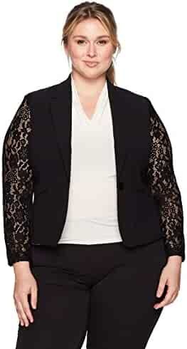 9c1033713e8 Nine West Women s Plus Size 1 Button Shawl Collar Jacket With Lace Sleeves