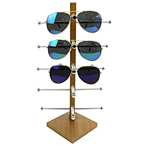 Display Rack, Petforu Wooden Sunglasses Holder Eyeglass Collections Display Stand (Wood Color)