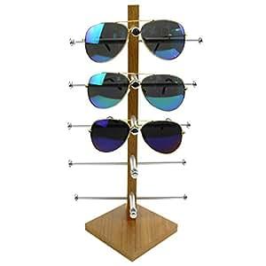 Display Rack, Petforu Wooden Sunglasses Holder Eyeglass Collections Display Stand (Wood Color)