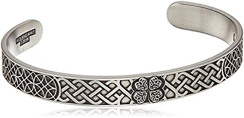 (Alex and Ani Men's Four Leaf Clover Cuff Bracelet, Rafaelian Silver, Expandable)