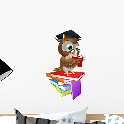Wallmonkeys Wise Owl Reading Wall Decal Peel and Stick Graphic (18 in H x 11 in W) WM52982 -