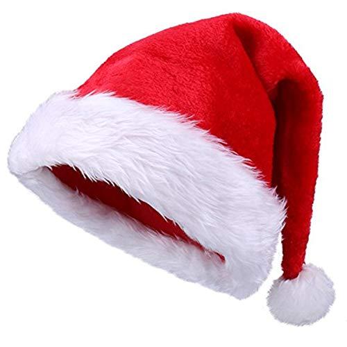 (Yansanido 18.5'' Adult Santa Hat Double Liner Christmas Hat Santa Christmas Hat Traditional Red and White Plush Christmas Santa Hat (1 Pack))