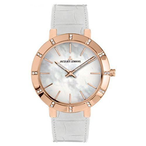 Jacques Lemans Milano 1-1825B 32mm Ion Plated Stainless Steel Case White Calfskin Mineral Women's Watch