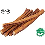 "12"" Straight Bully Sticks for Dogs [LARGE THICKNESS] (10 Pack) - All Natural & Odorless Bully Bones 