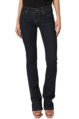 TheMogan Women's Low Rise Slim Fit Bootcut Jeans With Soft Denim Super Dark 15