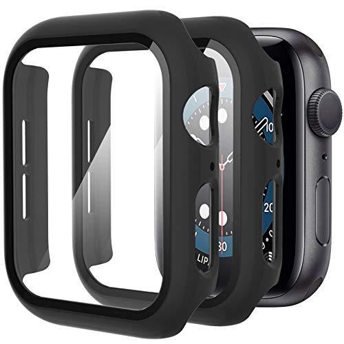 Diruite 2-Stück Hülle für Apple Watch Series 6/5/4/SE Panzerglas Schutzhülle