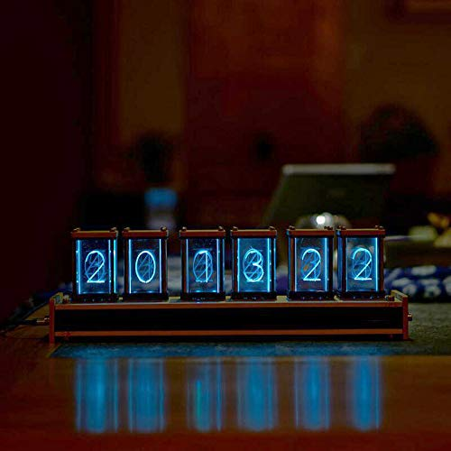 NovelLife Elekstube LED Digital Clock,6 Bit RGB Glow Vintage Desk Clock Stopwatch,DIY Nixie Tube Clock Kit Simulation,12 and 24 Hours Display,5V Micro USB Power Jack,Bamboo Dock
