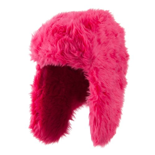 Faux Fur Color Trooper Hat - Fuchsia OSFM